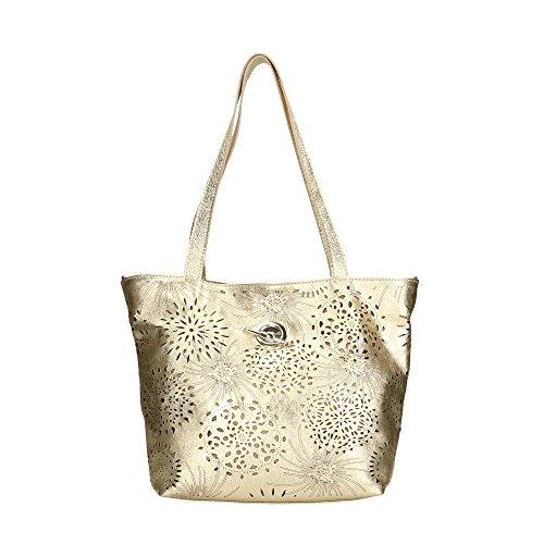 Aren Mujer bolsa de hombro en cuero genuino Made in Italy - 41x31x15 Cm Oro