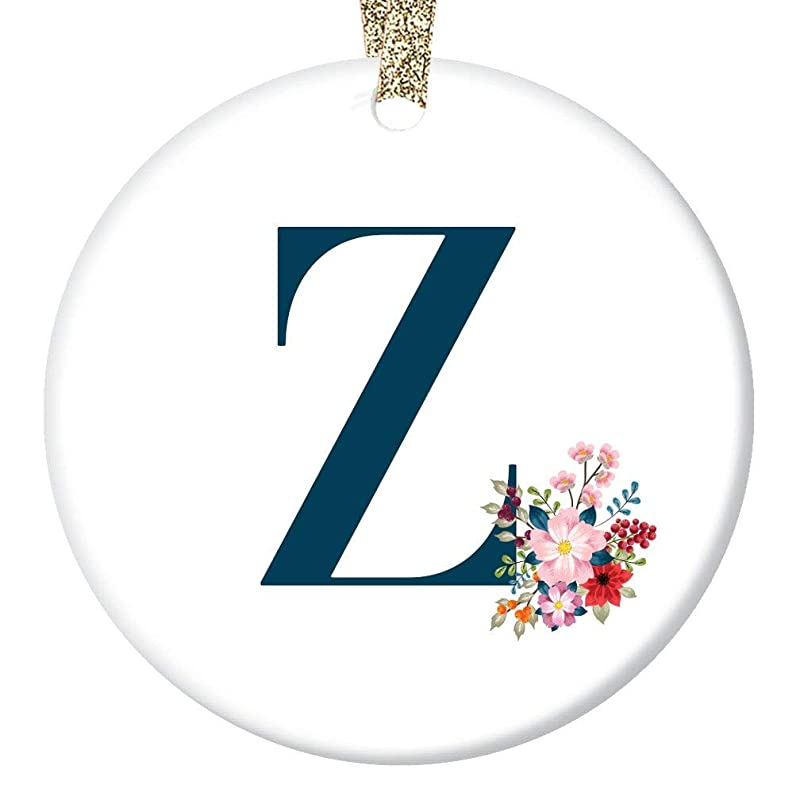 Name Initial Christmas Ornament Letter Z Holiday Present For Woman Teacher Neighbor Relative Pretty Floral First Surname Z Monogram 3 Flat Porcelain Keepsake W Gold Ribbon Free Gift Box Or00296 Handmade Amazon Com