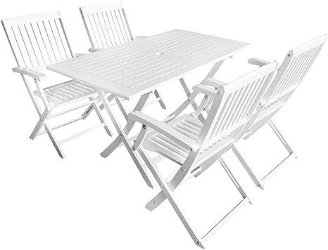 mewmewcat Conjunto de Mesa y Sillas Jardín Muebles de Comedor 5 Piezas Madera Maciza Acacia Mesa: 120 x 70 x 75 cm Blanco: Amazon.es: Deportes y aire libre