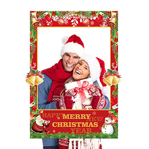 2 in 1 Christmas Photo Booth Props Frame Party Supplies - Christmas New Year Party Decorations ()