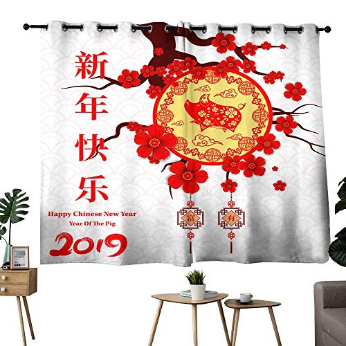 Simple curtain Happy Chinese New Year year of the pig paper cut style Chinese characters mean Happy New Year wealthy Zodiac sign for greetings card flyers invitation posters brochure banners calendar