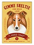 Retro Dogs Refrigerator Magnets - Sheltie Lager (Shetland Sheepdog)