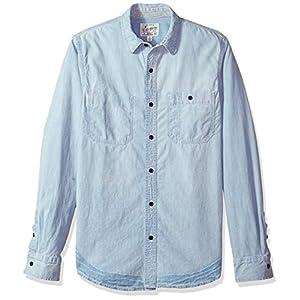 Lucky Brand Men's Casual Long Sleeve Denim Reworked Button Down Work Shirt