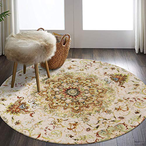 LEEVAN Faux Wool Area Rug 4ft Round Traditional Throw Runner Rug Non-Slip Backing Soft Wool Floor Carpet for Sofa Living Room, Bedroom Modern Accent Home Decor,Vintage Pattern