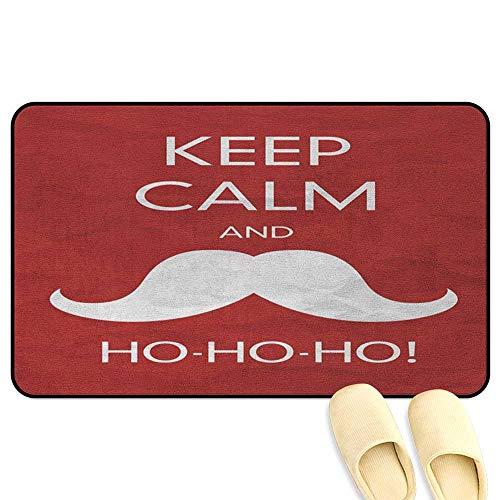 (homecoco Keep Calm Microfiber Absorbent Bath Mat Ho Ho Ho Quote with The Iconic Santa Mustache Joyful Christmas Feliz Navidad Red Coconut Decorative Floor Mat W24 x L35 INCH)