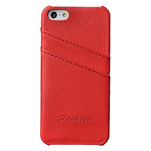 Price comparison product image Iphone 5/5S/SE Wallet Phone Case, Phone Card Case, Real Leather Thin Back Case Cover With Credit Card Holder Red Case