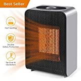 UOKOO Ceramic Space Heater, Portable Fast Heating Electric Heater Fan Indoor Adjustable Thermostat Home Bedroom Office