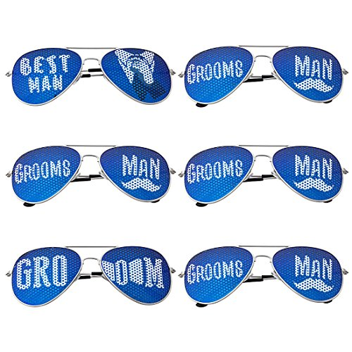 BMC 6 pc Wedding Party Colored Decal Metal Frame Aviator Style Sunglasses Set – Groom's Gang