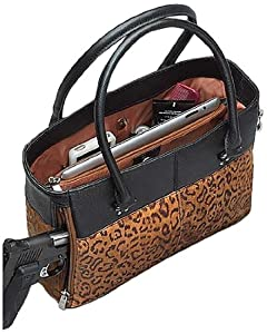 GTM Gun Tote'n Mamas Debossed Sueded Leather Traditional Open Top Tote, Tan, Small