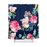 Pink and Turquoise Shower Curtain Sukuraceci Bathroom Navy and Pink Watercolor Peony Shower Curtain 72