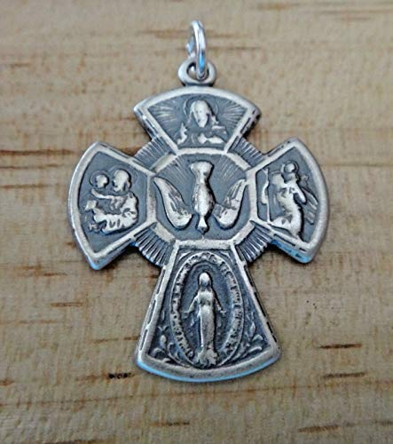 Sterling Silver Father Son Holy Ghost Dove Cross Scapular Jesus Mary Medal Charm