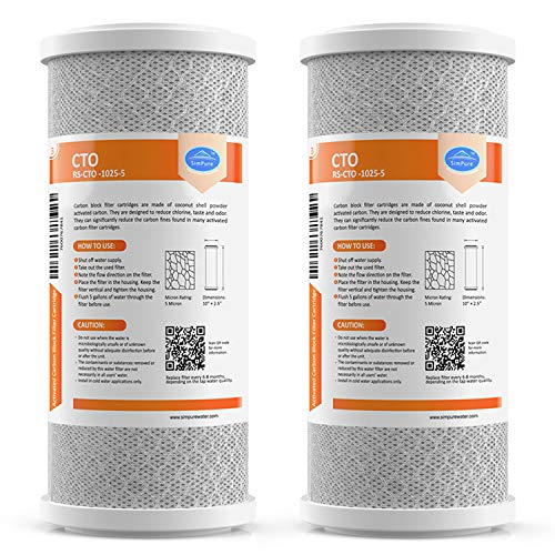 "SimPure Carbon Water Filter, 5 Micron 10""x 4.5"" Big Blue Carbon Block Filter Cartridge Replacement,Whole House CTO Carbon Sediment Water Purifier Filter Compatible with Most RO System, 2 Pack"