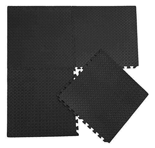 Zoeshare Interlocking Foam Exercise Mat, Protective Floor Covering, 48 SQ FT, Black (Floor Coverings)