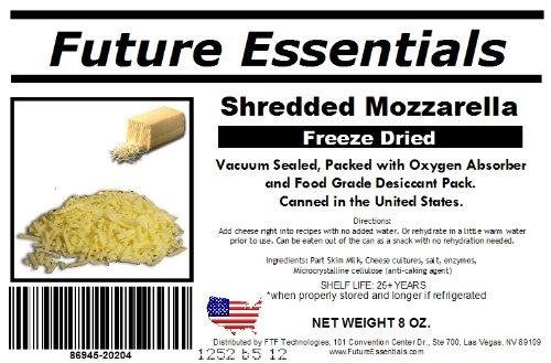 12 Cans of Freeze Dried REAL Mozzarella Shredded Cheese Survival Food- 6Lbs of cheese by Future Essentials (Image #2)