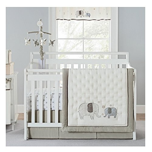 Lauge Giggle & Smile Elephant 4 Piece Crib Bedding Set ()