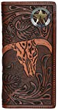 Custom 3D Belt Company Texas Ranger Lone Star Long Rodeo Checkbook Brown and Tan Cow Skull Wallet
