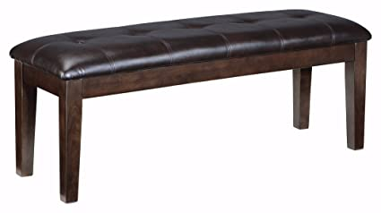 Ashley Furniture Signature Design   Haddigan Upholstered Dining Room Bench    Casual Tufted Seating   Dark