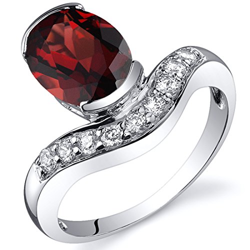 Channel Set 2.25 carats Garnet Ring in Sterling Silver Rhodium Nickel Finish Size 8