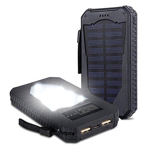 15000mAh Solarstrom Ladegerät Dual USB Anschlüsse Solar Ladegerät tragbare Solar Panel Back Up Handy Ladegerät für iPhone5se 5s 6 6s Plus, iPod, iPad, Samsung Galaxy S4 S5 S6 S7 Edge Note 3 4 5, Tablet etc. Schwarz