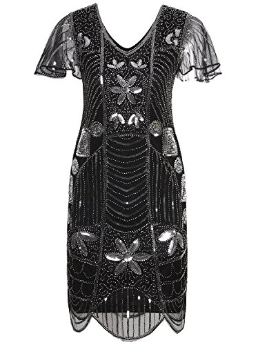 1920s Themed Dresses (Vijiv Vintage 1920s Deco Beaded Sequin Embellished Flapper Dress With Sleeves,Black Silver,XX-Large)
