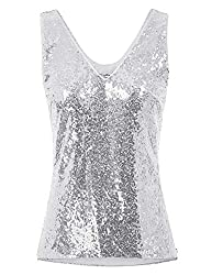 Women's Sleeveless Sequin V-Neck Cami Tops