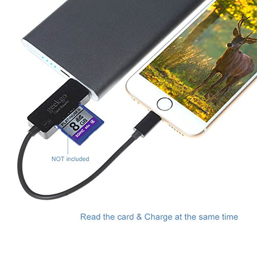 Geekgo USB & Lightning SD Card Reader for Apple iPhone iPad,Memory Micro SD Card Adapter with Fast Charging Cable for iOS Device,Deer or Other Wildlife Hunting Trail Cams Game Camera Viewer