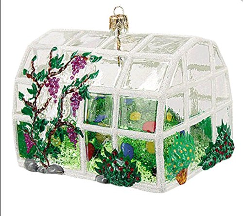 Greenhouse with Flowers and Plants Polish Glass Christmas Ornament