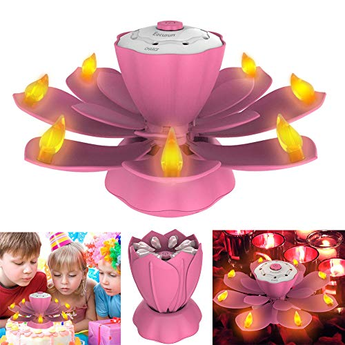 Flameless LED Birthday Candles, Musical Lotus Rotating LED Birthday Flameless Candles, 3 Modes Flickering Birthday Candle Light for Birthday, Party, Christmas Gifts, Festival Gifts(Pink)