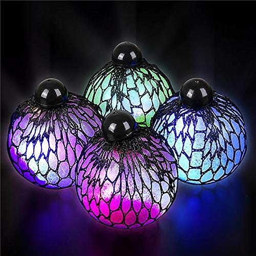 "3"" Light-Up Mesh Squishy Glitter Ball – 12 Pieces, Satisfying Effect, Stress Ball for Adults, Fun Playtime Activities, Party Favors/Supply, Souvenir Shop, Therapeutic, Think Tank, Glowy Sphere"