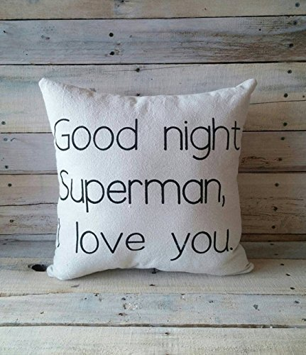 Goodnight Superman I love you Pillowcase, Children Pillowcase, Little Boy Pillow Cover, 16x16 Nursery Room Decor, Baby Shower Gift, Home Décor