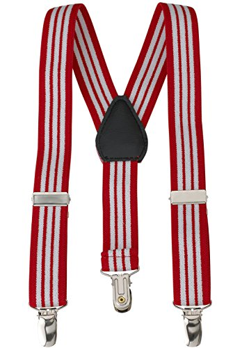 (Suspenders for Kids - 1 Inch Suspender Perfect for Tuxedo- Red and White Striped - (30