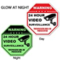 "24 Hour Video Surveillance Sign,Rust Free Aluminum No Trespassing Sign,12""X12""Security Surveillance Signs by Elenxs"