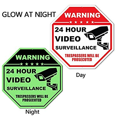 "24 Hour Video Surveillance Sign,Rust Free Aluminum No Trespassing Sign,12""X12""Security Surveillance Signs by Elenxs"