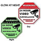 Elenxs Video Surveillance Sign,Rust Free Aluminum 24 Hour No Trespassing Sign,12