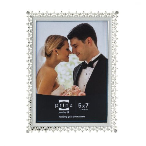 Prinz Elegance Silver Plated Metal Frame with Enamel Inlay and Jewels, 5 by 7-Inch