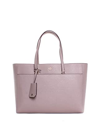 ae50f5f054e Amazon.com  Tory Burch Robinson Leather Tote in Gray Heron  Clothing