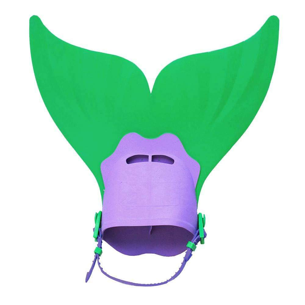 Swimming Fins, TechCode Cute Fish Tail Shape Flippers Short Fins Flippers Kids Children Swimming Fin Diving Foot Adjusting Short Swim Fins Watersports Swimming Diving Accessories(Green)