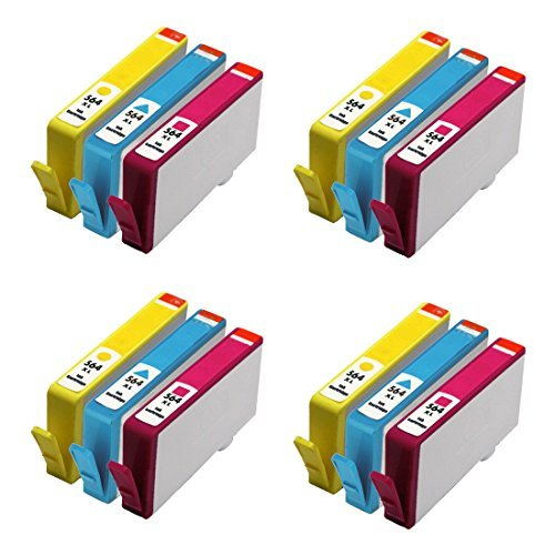 HOTCOLOR(TM) 12 Color (4-Cyan, 4-Magenta,4-Yellow) Remanufactured Ink Cartridge Replacement for 564XL 564 Photosmart 5520 6510 6520 7510 7520 Printer