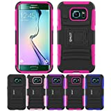 Galaxy S6 Edge Case, HLCT Rugged Shock Proof Dual-Layer PC and Soft Silicone Case With Built-In Kickstand for Samsung Galaxy S6 Edge (2015) (Rose Pink)