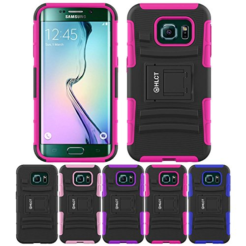 Price comparison product image Galaxy S6 Edge Case,  HLCT Rugged Shock Proof Dual-Layer PC and Soft Silicone Case With Built-In Kickstand for Samsung Galaxy S6 Edge (2015) (Rose Pink)
