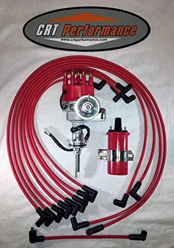 HEI Distributor RED Chrysler Kit Dodge 413 426 440 + 45K COIL + WIRES, Compatible With BB Mopar