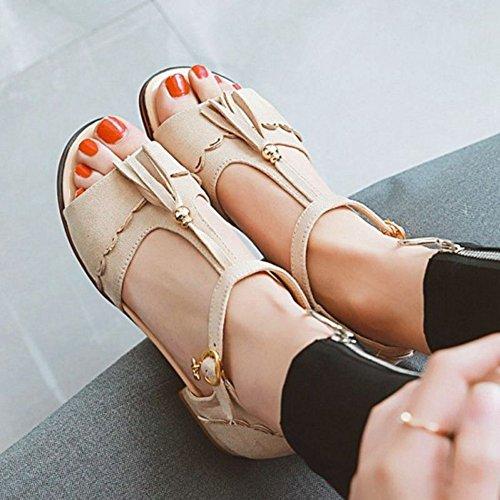 Suuri Sandaalit Paksu Mini Muoti Beige Naisten Kantapää Sjjh Pieni qR74Cwz