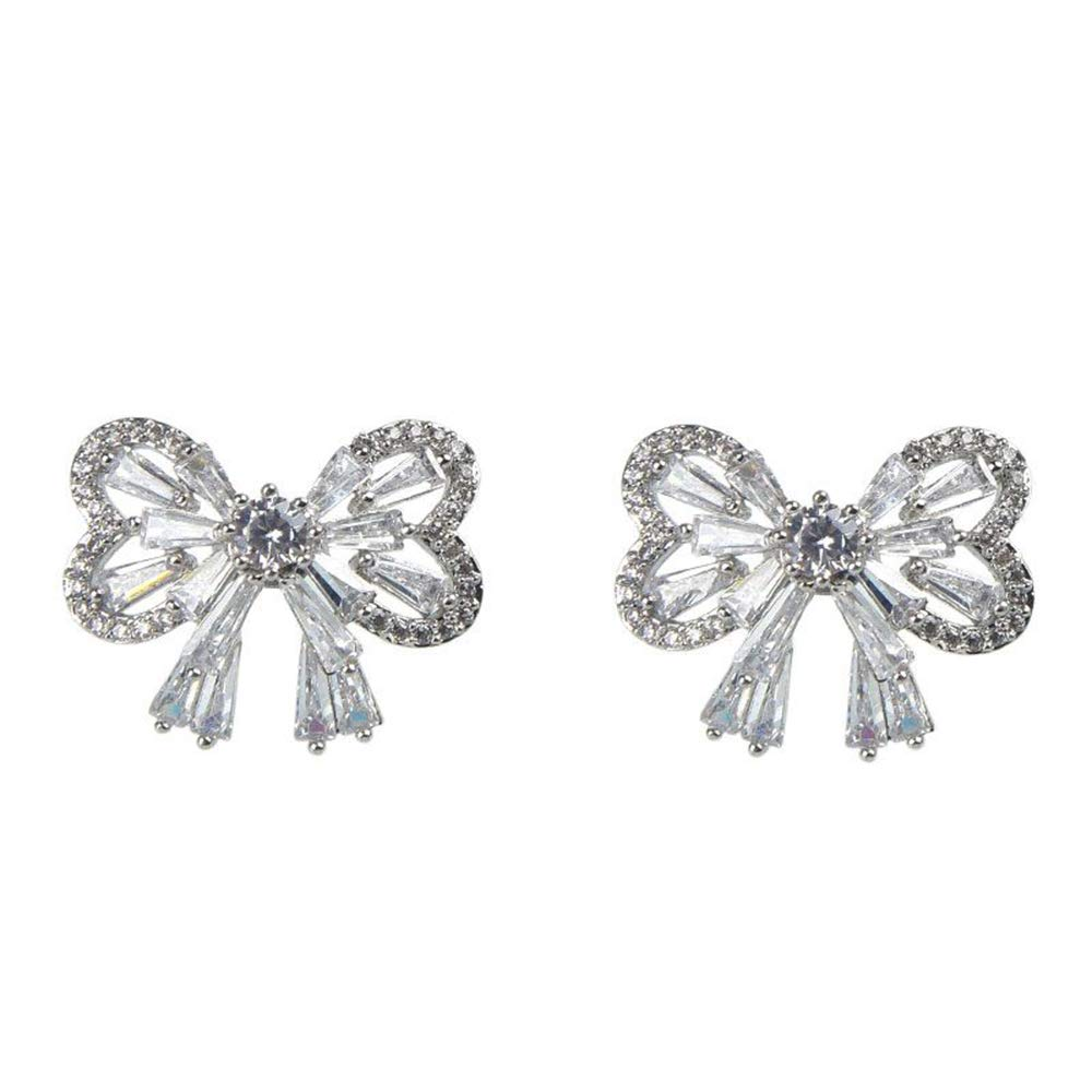 1.20 Ct Baguette /& Round Cut Simulated Diamond Bowknot Stud Earrings 14K White Gold Over
