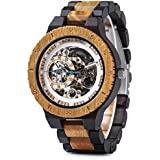 Mens Wooden Mechanical Watches Automatic No Battery Needed Luxury Lightweight Wood Watches for Men