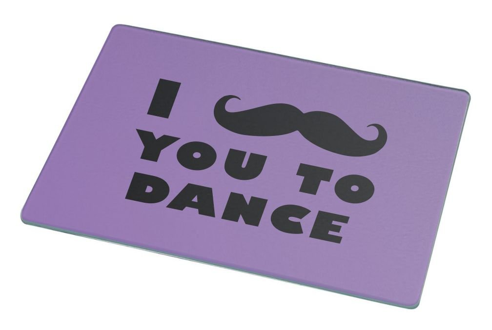 Rikki Knight I Mustache You To Dance Violet Color Large Glass Cutting Board