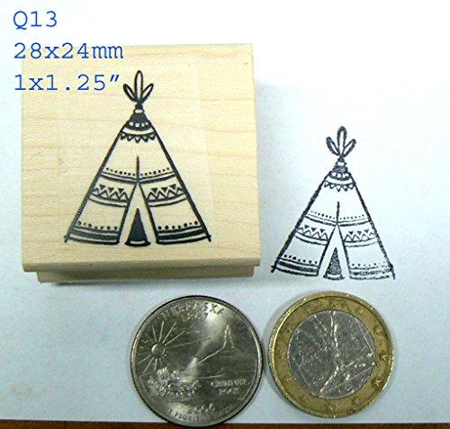 Q13 Miniature Teepee, Wigwam Rubber Stamp