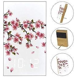 Japan Cherry Blossoms Wood Digital Alarm Clock Display Time Temperature Date LED Decorative Clock