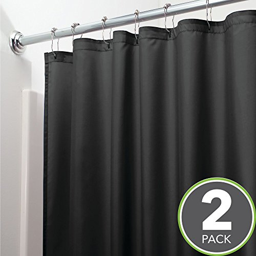 Extra Heavy Black Liner - mDesign Extra Long Water Repellent, Mildew Resistant, Heavy Duty Flat Weave Fabric Shower Curtain/Liner – Weighted Bottom Hem, for Bathroom Shower and Bathtub – 72