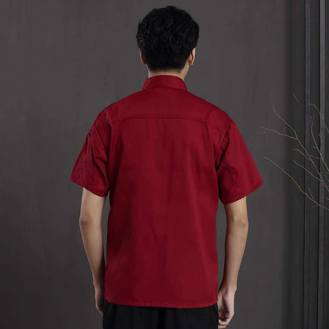 Jiyaru Veste de Cuisine avec Poche Blouse /à Manches Courtes Veste de Chef Cuisinier Unisexe Universelle Manteau Uniforme pour H/ôtel Restaurants Caf/és Boulangerie Rouge Taille Asiatique 2XL