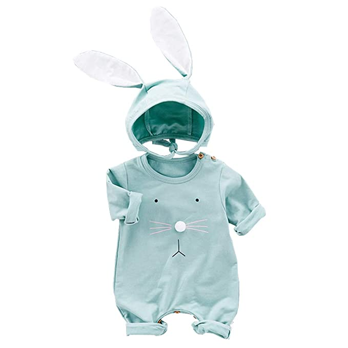 1e2b3e387fb1e Fairy Baby 2PCS Easter Outfits for Baby Boys Girls Cotton Bunny Outfit Long  Sleeve Romper+ Big